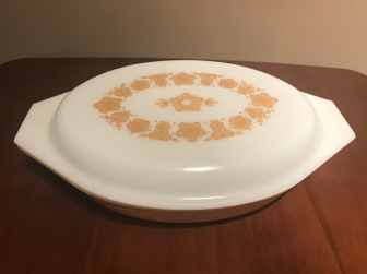 Butterfly Gold Divided Serving Dish #063, 1970s