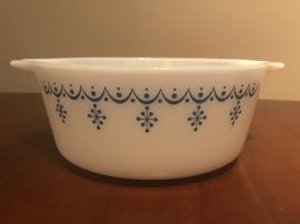 Snowflake Blue Casserole #472, 1970s