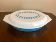 Snowflake Blue Divided Dish #063, 1970s