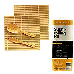 BambooWorx Sushi Making Kit – Includes 2 Sushi Rolling Mats, Rice Paddle, Rice Spreader